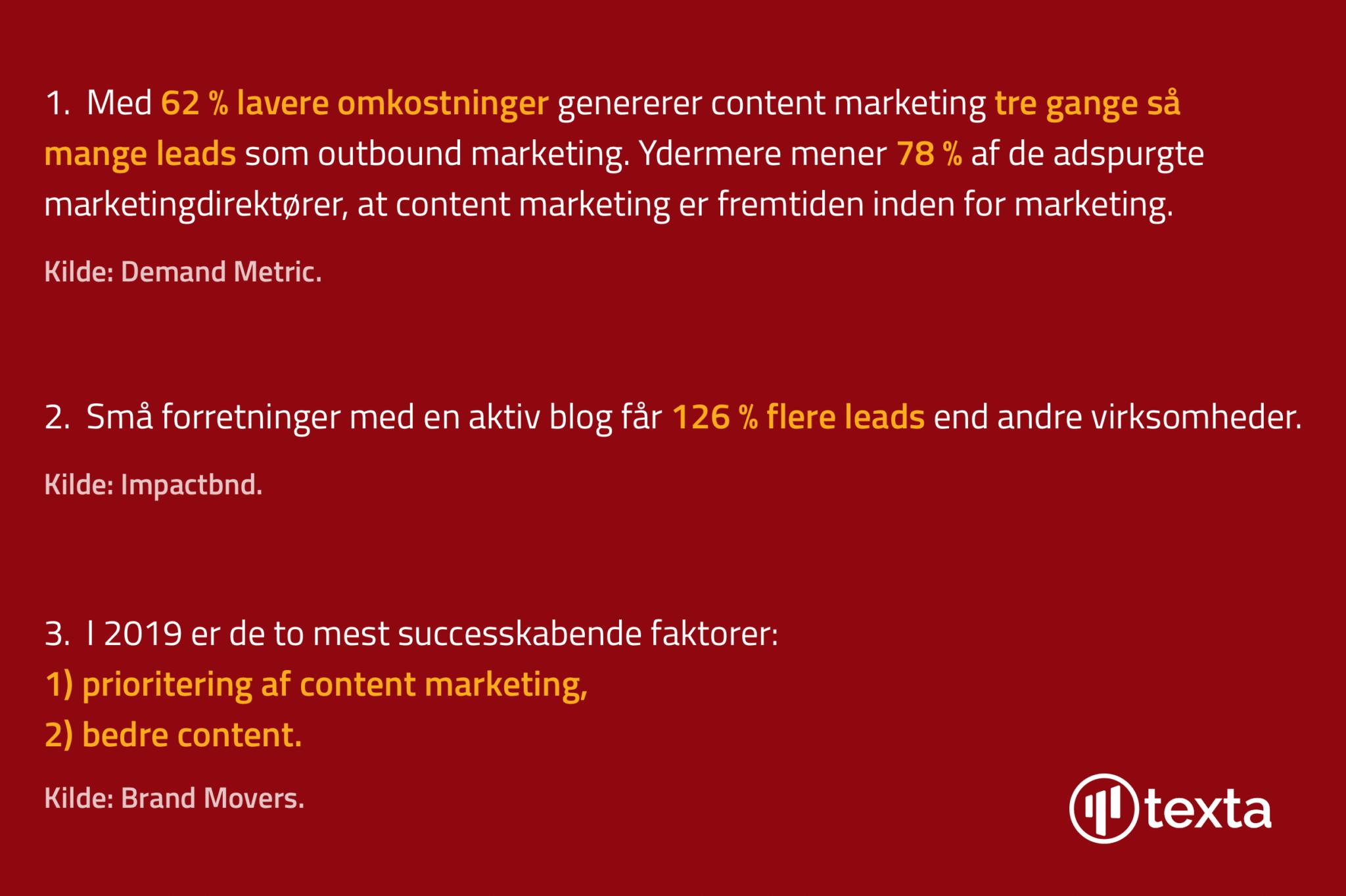 Relevante statistikker for content marketing.