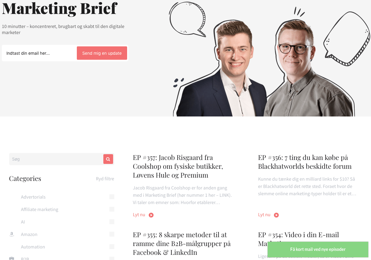 Eksempel på content marketing - Marketing Brief