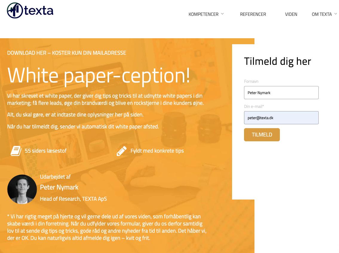 Eksempel på landingsside til white paper