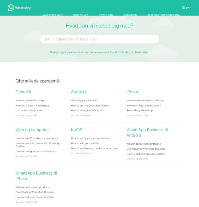 Eksempel på FAQ-side hos Whatsapp