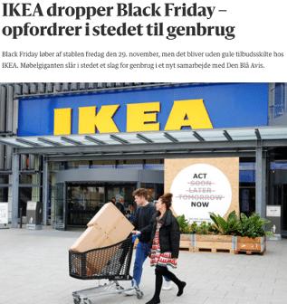 Eksempel på opfordring til genbrugskøb fra IKEA.