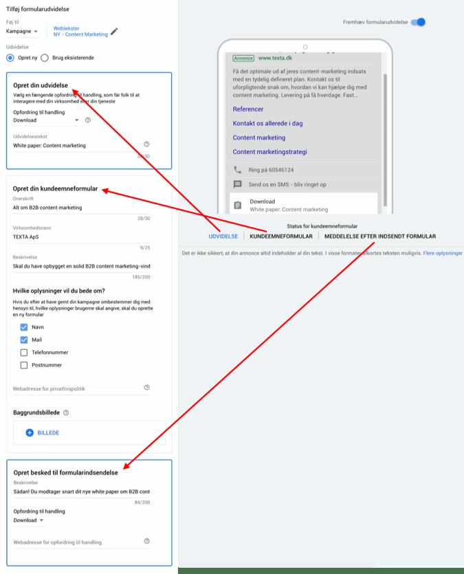 Eksempel på opsætning af Google Lead Forms via Google Ads