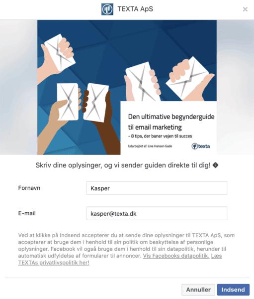 facebook lead ad desktop popup texta
